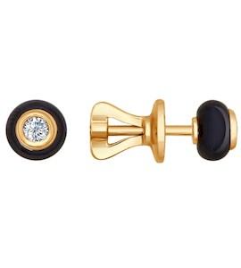 Серьги-пусеты из золота с бриллиантами и чёрными керамическими вставками 6025001