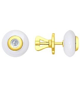 Серьги-пусеты из жёлтого золота с бриллиантами и керамикой 6025009