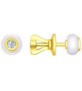Серьги-пусеты из жёлтого золота с бриллиантами и керамикой 6025011
