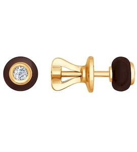 Серьги-пусеты из золота с бриллиантами и керамикой 6025017