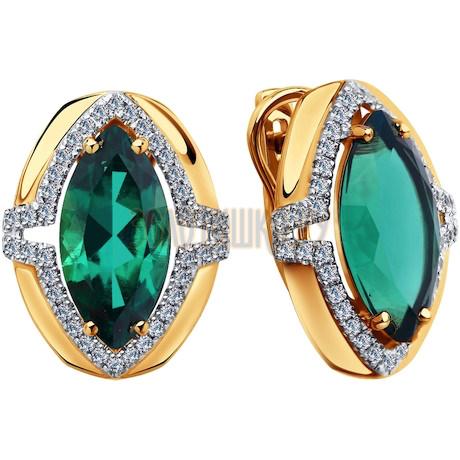 Серьги из золота с бриллиантами и гидротермальными изумрудами (синт.) 6027005