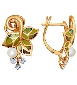 Серьги из золота с эмалью с бриллиантами и жемчугом 6029005