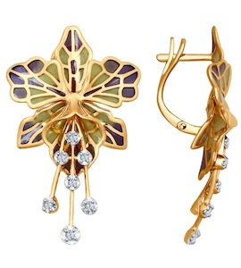 Серьги из золота с эмалью с бриллиантами 6029006