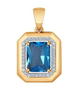 Подвеска из золота с бриллиантами и топазом 6034008