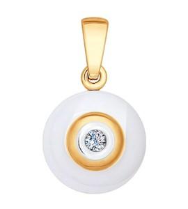 Подвеска из золота с бриллиантом и керамической вставкой 6035004