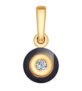 Подвеска из золота с бриллиантом и чёрным керамической вставкой 6035008
