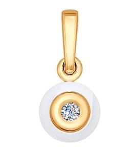 Подвеска из золота с бриллиантом и керамической вставкой 6035011