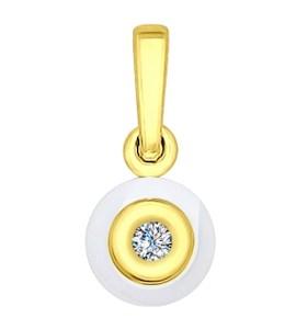 Подвеска из золота с бриллиантом и керамической вставкой 6035013
