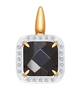 Подвеска из золота с бриллиантами и чёрной керамической вставкой 6035015