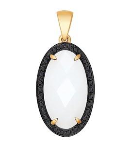 Подвеска из золота с чёрными бриллиантами и керамической вставкой 6035020