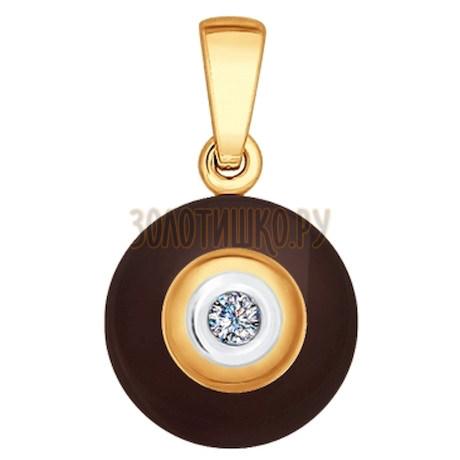 Подвеска из золота с бриллиантом и керамической вставкой 6035021