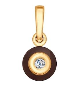 Подвеска из золота с бриллиантом и керамикой 6035024