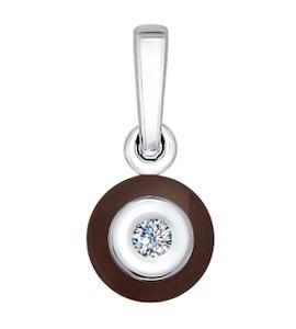 Подвеска из белого золота с бриллиантом и керамической вставкой 6035025