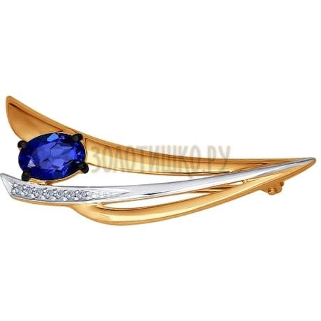 Брошь из золота с бриллиантами и корундом сапфировым (синт.) 6042006