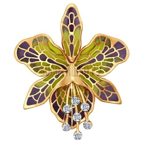 Брошь из золота с эмалью с бриллиантами 6049005