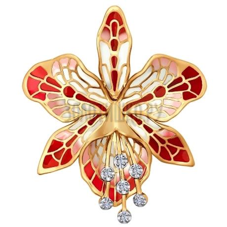 Брошь из золота с эмалью с бриллиантами 6049006