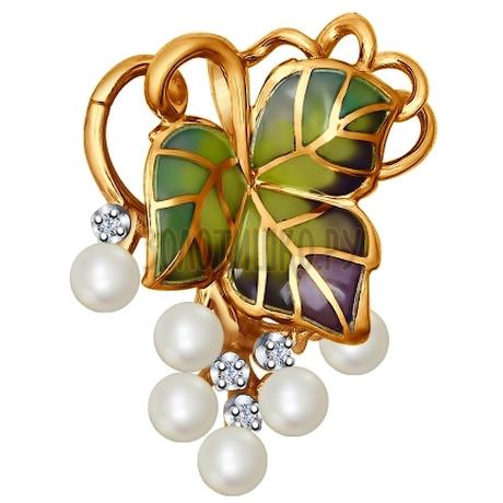 Брошь из золота с эмалью с бриллиантами и жемчугом 6049007