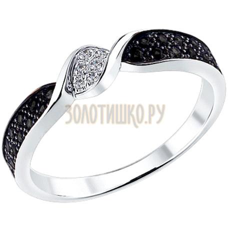 Кольцо из белого золота с чёрными и белыми бриллиантами 7010011
