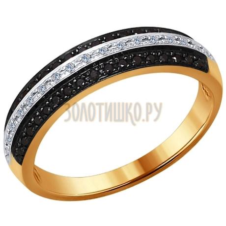 Кольцо из золота с бесцветными и чёрными бриллиантами 7010041