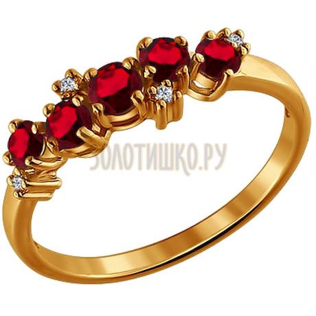 Кольцо из золота с гранатами и фианитами 710273