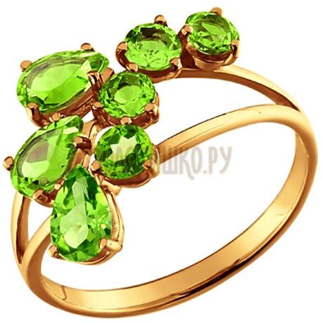 Изящное золотое кольцо с хризолитами 710397