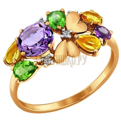 Золотое кольцо с полудрагоценными вставками 712393