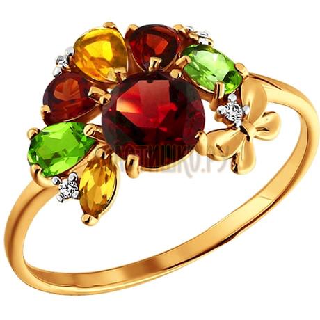 Кольцо из золота с миксом камней 712498