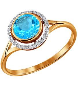 Женское золотое кольцо с топазом и фианитами 712601