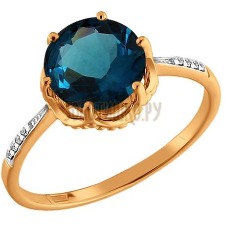 Кольцо с глубоким синим топазом 712940