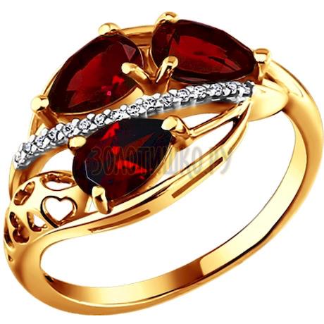 Кольцо из золота с гранатами и фианитами 712955
