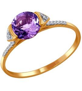 Тонкое золотое кольцо с крупным аметистом 713057