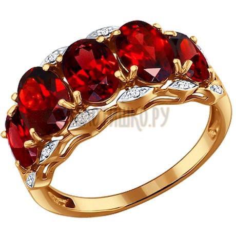 Кольцо из золота с гранатами и фианитами 713347