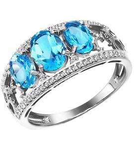 Широкое кольцо из белого золота с топазами 713394