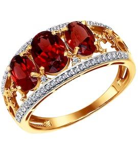 Кольцо из золота с гранатами и фианитами 713395