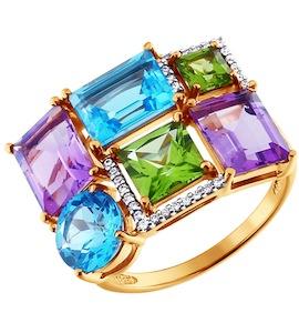 Асимметричное кольцо с полудрагоценными камнями 713579