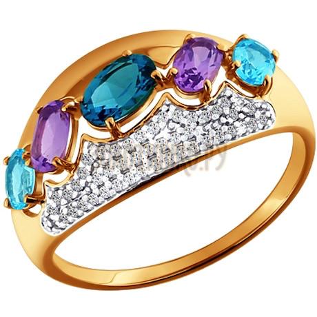 Кольцо из золота с миксом камней 713697