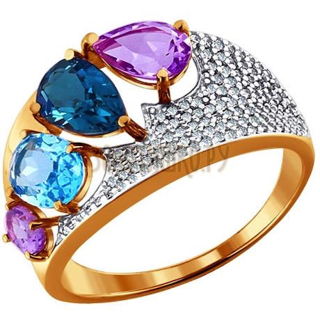 Кольцо из золота с миксом камней 713698