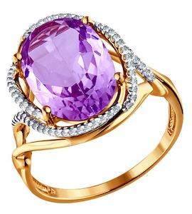 Кольцо из золота с аметистом и фианитами 713751