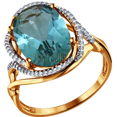 Кольцо из золота с кварцем и фианитами 713752