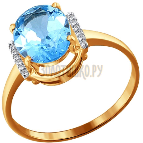 Кольцо из золота с топазом и фианитами 713786