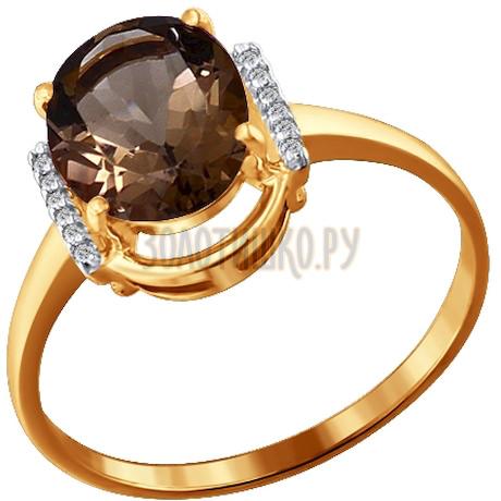 Кольцо из золота с раухтопазом и фианитами 713790