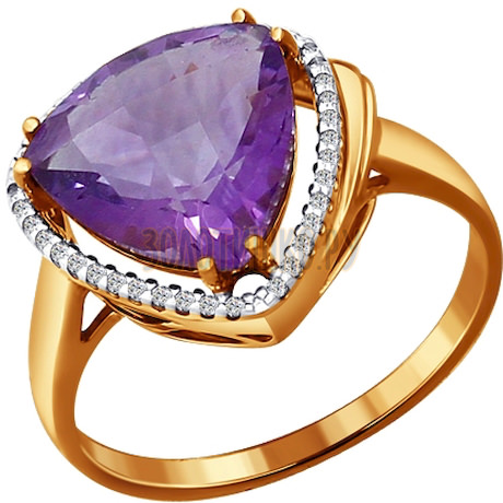 Кольцо из золота с аметистом и фианитами 713854