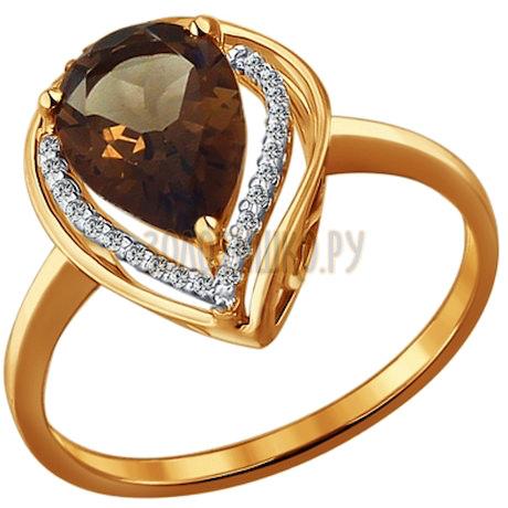 Кольцо из золота с раухтопазом и фианитами 713931