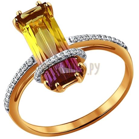 Золотое кольцо с аметрином (синт.) 713932