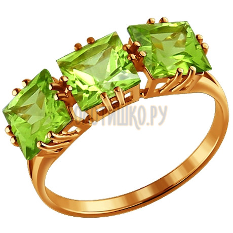 Кольцо из золота с хризолитами 713962