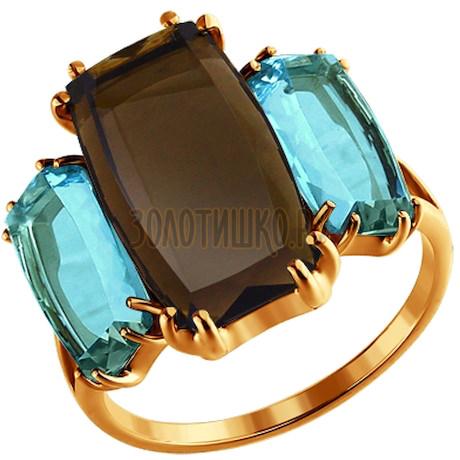 Кольцо из золота с полудрагоценными вставками 713978