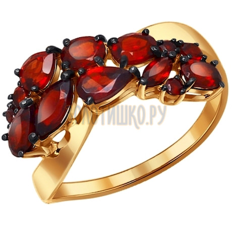 Кольцо из золота с гранатами 714051