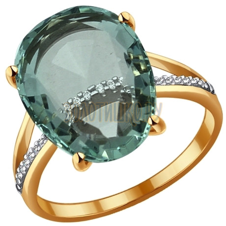 Кольцо из золота с кварцем и фианитами 714054