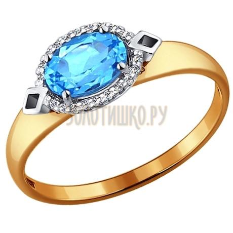 Кольцо из комбинированного золота с топазом и фианитами 714068