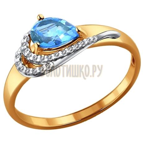 Кольцо из комбинированного золота с топазом и фианитами 714074